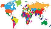 Färgglada världskartan — Stockvektor