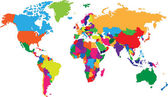 Mappa del mondo colorata — Vettoriale Stock