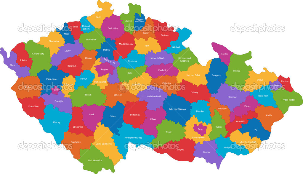 Map of administrative divisions of the Czech Republic   Stock Vector #1143812