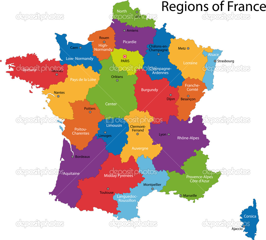 Colorful France map with regions and main cities   Stock Vector #1144922