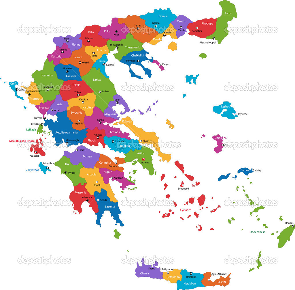 Map of administrative divisions of Greece with the capital cities — Stock Vector #1145082