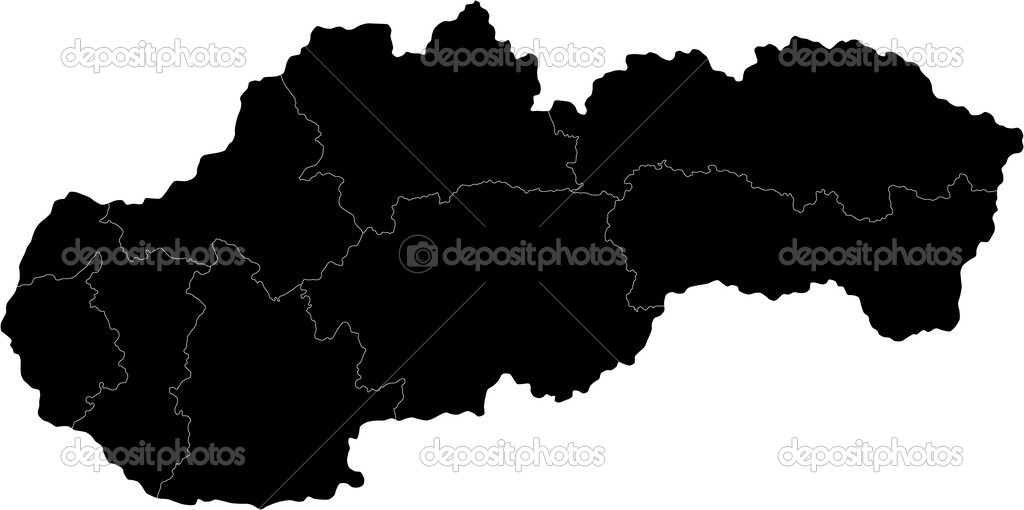 Slovakia Map Vector Map of Administrative Divisions of Slovakia Vector by Volina