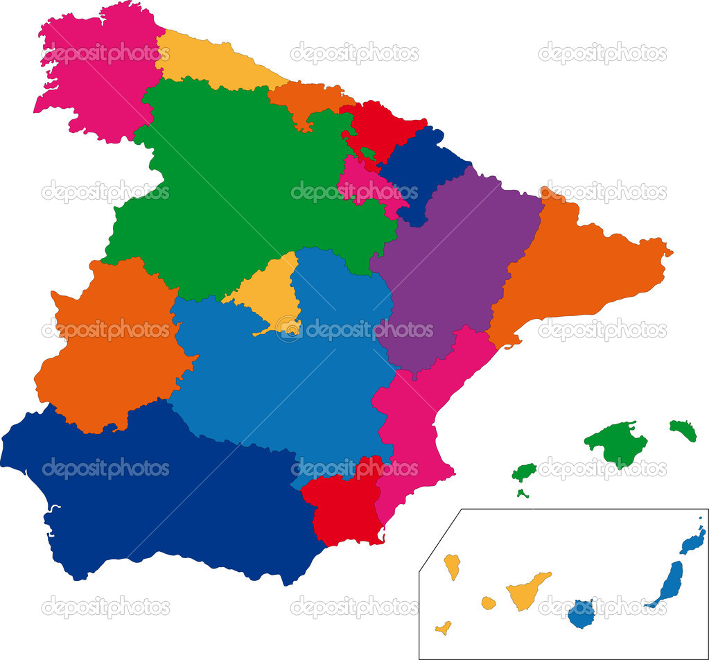 Colorful Spain map with regions — Stock Vector #1173545
