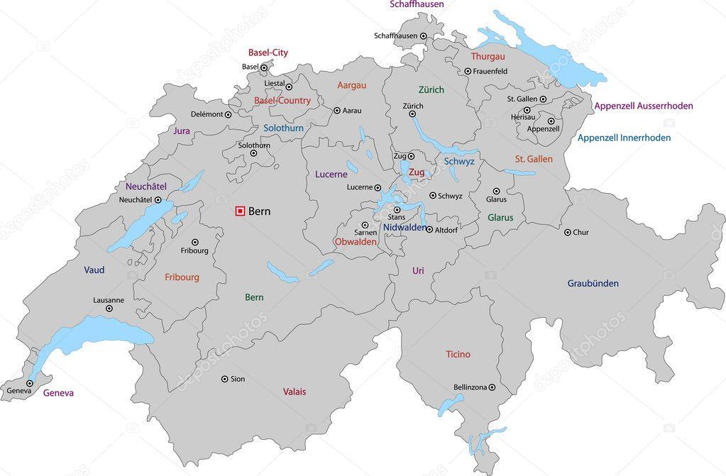 Importantes Ríos De Suiza: Ciudades Principales De Suiza Mapa