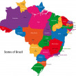 Stock vektor: Colorful Brazil map