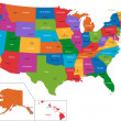 Colorful USA map — Stockvectorbeeld
