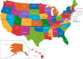 米国はマップするカラフルです — ストックベクタ