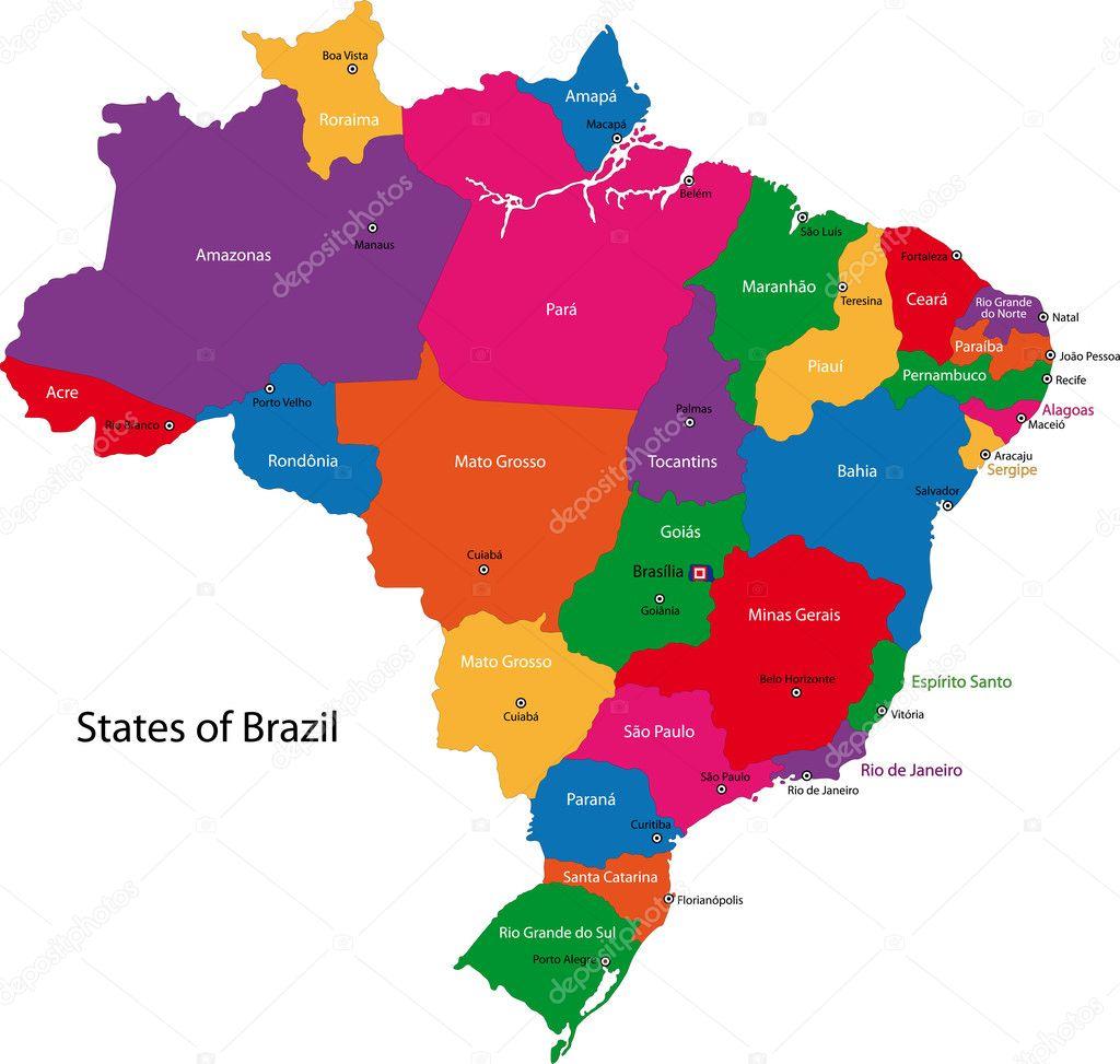 多彩巴西地图
