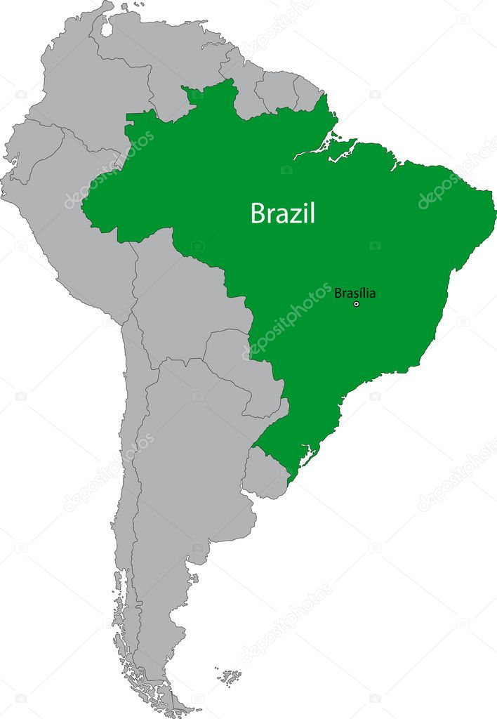 Location of Brazil on the South America continent  Stock Vector #1205072