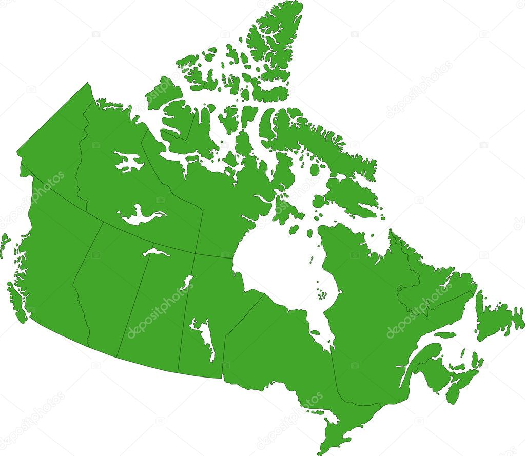 Green Canada map with province borders — Stock Vector #1205227