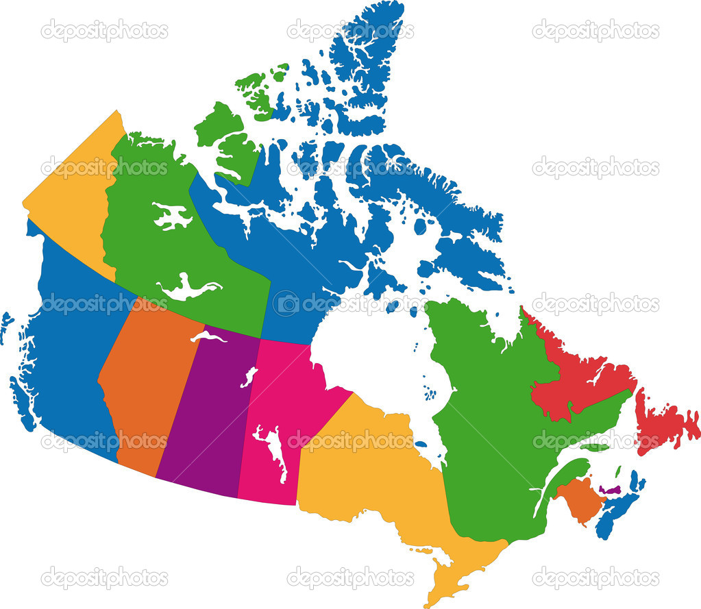 Vector colorful Canada map with province borders  Stock Vector #1205252