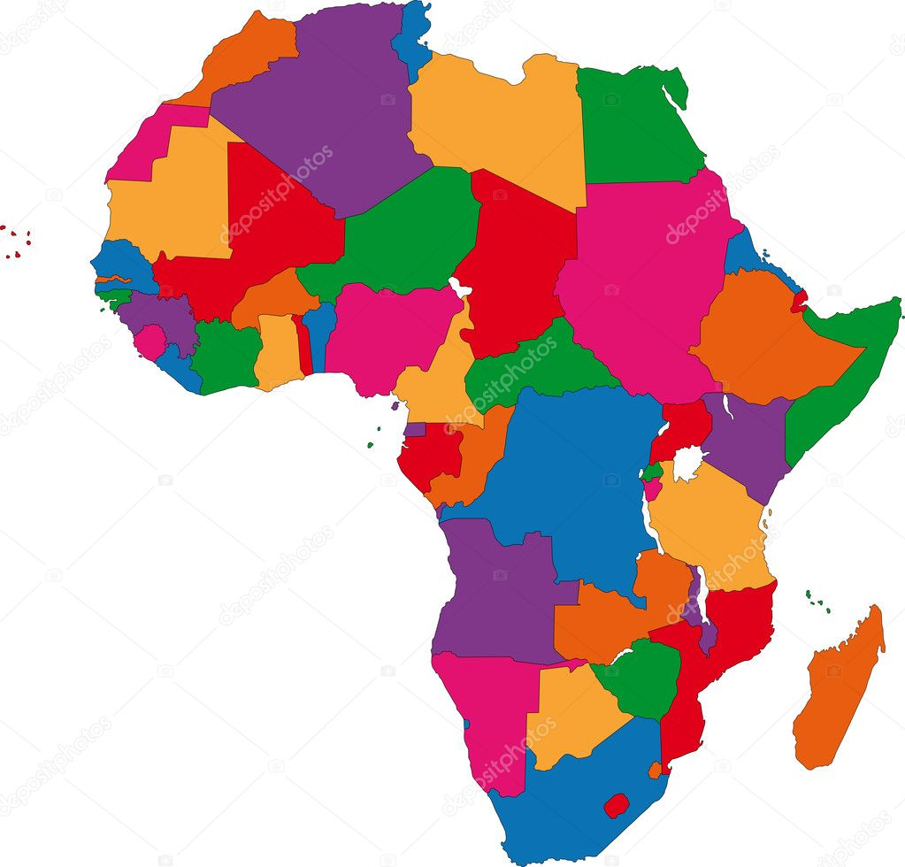 Colorful Physical Map Of Africa 96