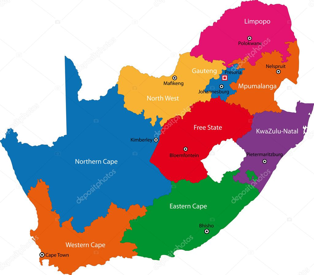 Map South Africa Provinces Outline South Africa Map Designed in