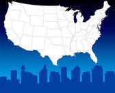 抽象的美国地图 — 图库矢量图片
