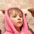 Girl in dressing gown — Stock Photo