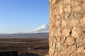 Wall of church and Ararat — Stock Photo