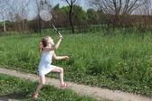 Little badminton player — Stock Photo