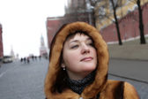Pretty woman in Kremlin — Stock Photo