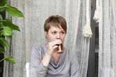 Niña bebe té — Foto de Stock