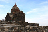 Church on little peninsula in Sevan — Stock Photo