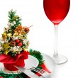 Glass of red wine and Christmas decorati — Stockfoto #1087300