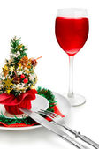 Glass of red wine and Christmas decorati — ストック写真