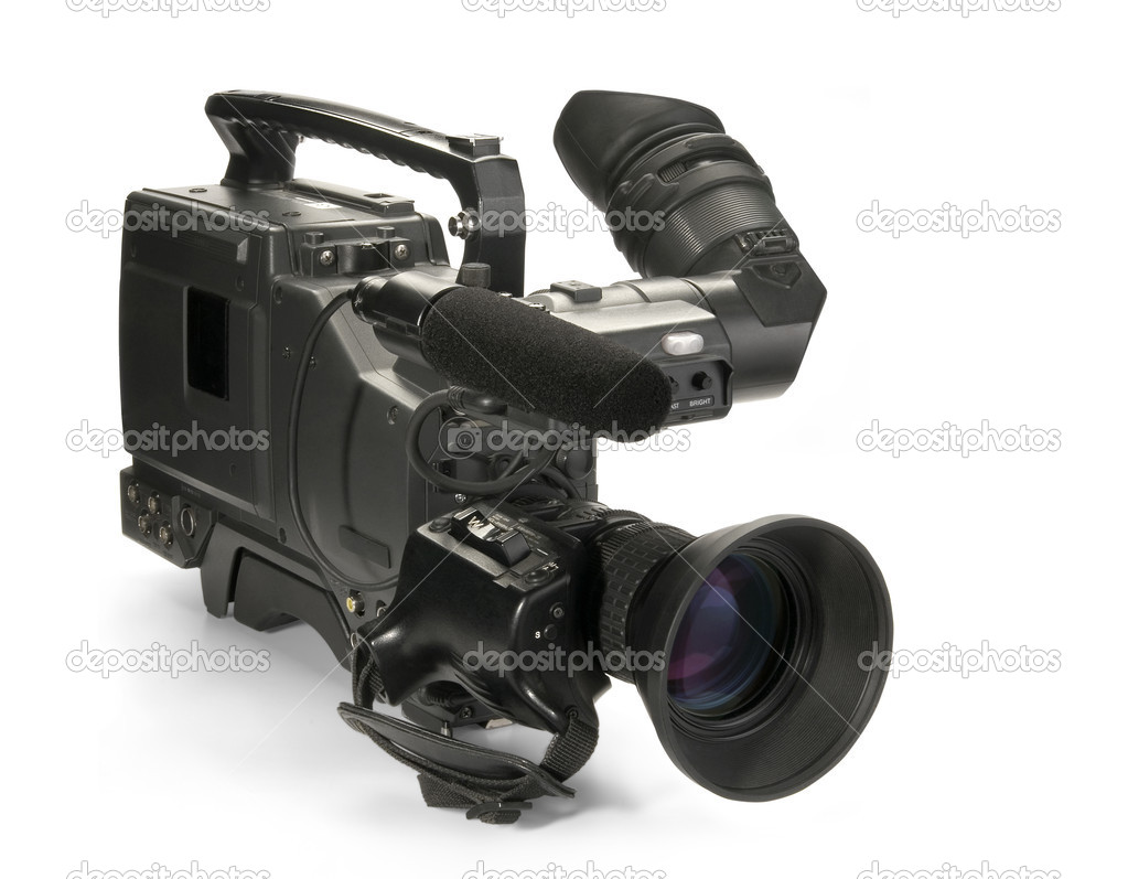 Professional digital video camera, isolated on white background — Stock Photo #1098484