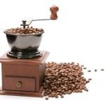 Beyaz ba izole eski Kahve değirmeni — Stok fotoğraf