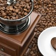 Old coffee grinder and heart on a saucer — Stock Photo