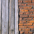 Old brick wall and Boards — Stock Photo