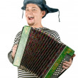 Russian man with accordion, isolated on — Stock Photo