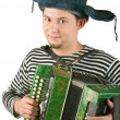 Russian man with accordion, isolated on - Stok fotoğraf