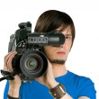 Stock Photo: Cameraman, isolated on white background