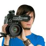 Cameraman, isolated on white background — Stock Photo