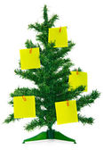 Christmas fur-tree with notes — Stock Photo