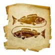 Pisces zodiac old — Stock Photo