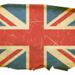 图库照片: United Kingdom Flag old, isolated on whi