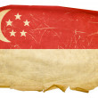 Singapore Flag old, isolated on white ba — Stock Photo