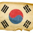 Royalty-Free Stock Photo: South Korea Flag old, isolated on white