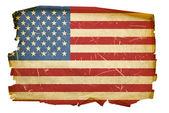 Usa flagga gammal, isolerad på whit — Stockfoto