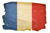 France Flag old, isolated on white backg — Stock Photo