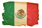 Mexico Flag old, isolated on white backg — Stock Photo