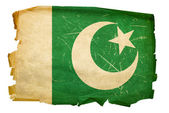Pakistan Flag old, isolated on white bac — Stock Photo