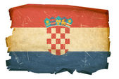 Croatia Flag old, isolated on white back — Stock Photo