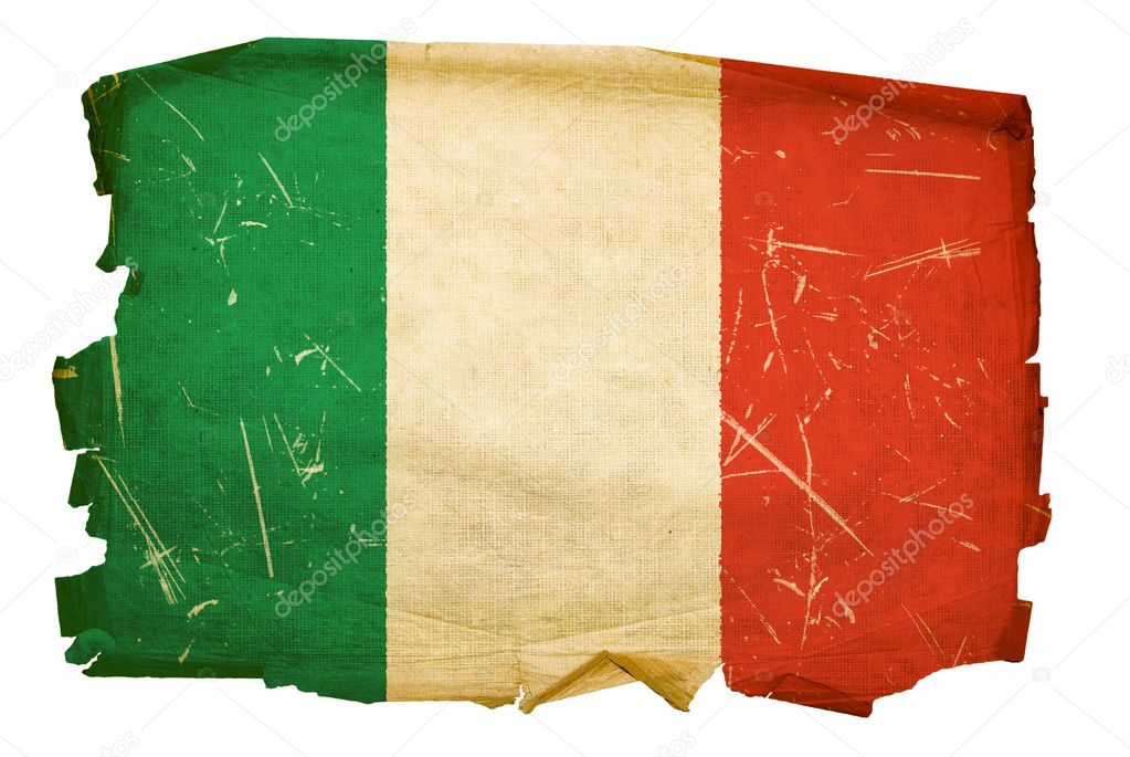 Italy Flag old, isolated on white background. — Stock Photo #1264281