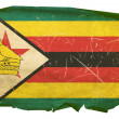 Zimbabwe Flag old, isolated on white bac - Stock Photo