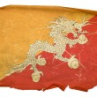 Bhutan flag old, isolated on white backg — Stock Photo