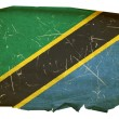 Tanzania flag old, isolated on white bac — Stock Photo