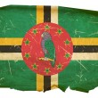 Dominica flag old, isolated on white bac — Stock fotografie