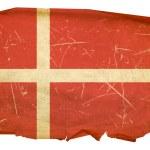 Danish Flag old, isolated on white backg — Stock Photo #1279491